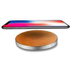 Suteni PU Leather Portable Wireless Phone Charger Fast Charge Qi Wireless Charging Thin Pad - Khaki