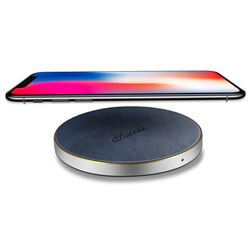 Suteni PU Leather Portable Wireless Phone Charger Fast Charge Qi Wireless Charging Thin Pad - Blue