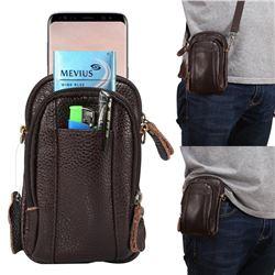 Universal Litchi Genuine Leather Holster Satchel Multi-functional Waist Phone Bag Pocket Case - Coffee