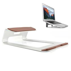 Universal Aluminum Alloy Stand Holder Pad for Apple Macbook Thinkpad Laptop - Silver