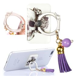 Universal 360 Rotation Stylish Holder Finger Ring Kickstand with Tassel for Mobile Phone Folding - Skull Flower