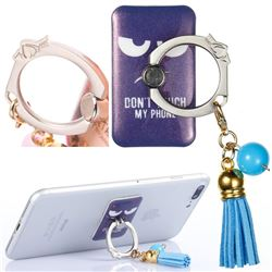 Universal 360 Rotation Stylish Holder Finger Ring Kickstand with Tassel for Mobile Phone Folding - Do Not Touch My Phone