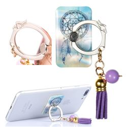 Universal 360 Rotation Stylish Holder Finger Ring Kickstand with Tassel for Mobile Phone Folding - Fantasy Campanula