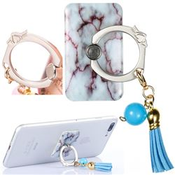 Universal 360 Rotation Stylish Holder Finger Ring Kickstand with Tassel for Mobile Phone Folding - Marble