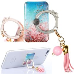 Universal 360 Rotation Stylish Holder Finger Ring Kickstand with Tassel for Mobile Phone Folding - Cherry Blossoms