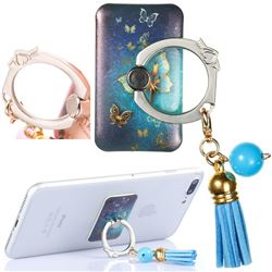 Universal 360 Rotation Stylish Holder Finger Ring Kickstand with Tassel for Mobile Phone Folding - Gold Butterfly