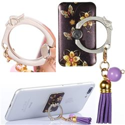 Universal 360 Rotation Stylish Holder Finger Ring Kickstand with Tassel for Mobile Phone Folding - Golden Flower Butterfly