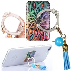 Universal 360 Rotation Stylish Holder Finger Ring Kickstand with Tassel for Mobile Phone Folding - Spider Flowers