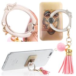 Universal 360 Rotation Stylish Holder Finger Ring Kickstand with Tassel for Mobile Phone Folding - Gray Owl