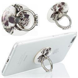Flexible Universal 360 Rotation Stylish Holder Finger Ring Kickstand for Mobile Phone Folding - Skull Flower