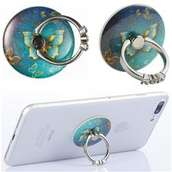 Flexible Universal 360 Rotation Stylish Holder Finger Ring Kickstand for Mobile Phone Folding - Gold Butterfly
