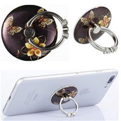 Flexible Universal 360 Rotation Stylish Holder Finger Ring Kickstand for Mobile Phone Folding - Golden Flower Butterfly