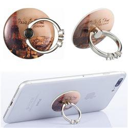 Flexible Universal 360 Rotation Stylish Holder Finger Ring Kickstand for Mobile Phone Folding - Fog Eiffel Tower
