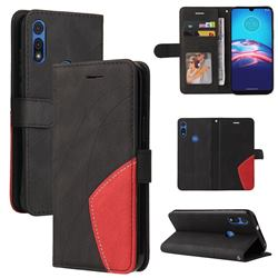 Luxury Two-color Stitching Leather Wallet Case Cover for Motorola Moto E 2020 - Black