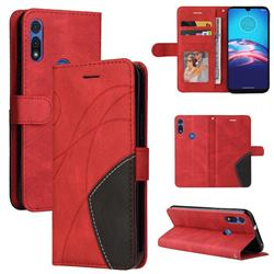 Luxury Two-color Stitching Leather Wallet Case Cover for Motorola Moto E 2020 - Red
