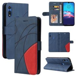 Luxury Two-color Stitching Leather Wallet Case Cover for Motorola Moto E 2020 - Blue