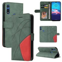 Luxury Two-color Stitching Leather Wallet Case Cover for Motorola Moto E 2020 - Green