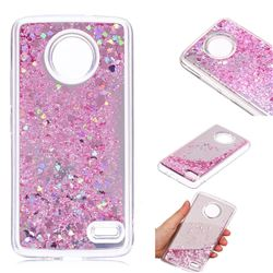 Glitter Sand Mirror Quicksand Dynamic Liquid Star TPU Case for Motorola Moto E4(Europe) - Cherry Pink
