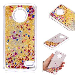 Glitter Sand Mirror Quicksand Dynamic Liquid Star TPU Case for Motorola Moto E4(Europe) - Yellow