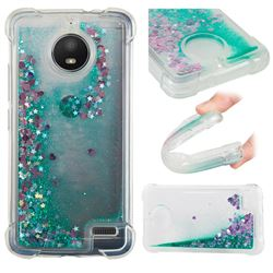 Dynamic Liquid Glitter Sand Quicksand TPU Case for Motorola Moto E4(Europe) - Green Love Heart