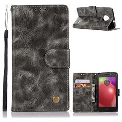 Luxury Retro Leather Wallet Case for Motorola Moto E4(Europe) - Gray