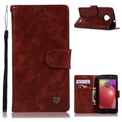 Luxury Retro Leather Wallet Case for Motorola Moto E4(Europe) - Wine Red