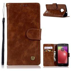 Luxury Retro Leather Wallet Case for Motorola Moto E4(Europe) - Brown