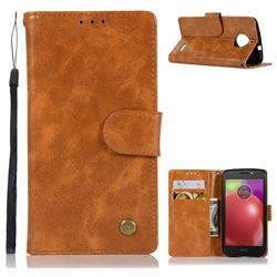 Luxury Retro Leather Wallet Case for Motorola Moto E4(Europe) - Golden