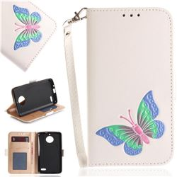Imprint Embossing Butterfly Leather Wallet Case for Motorola Moto E4(Europe) - White