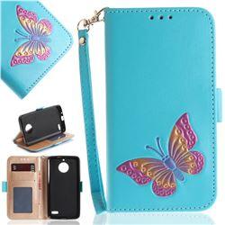 Imprint Embossing Butterfly Leather Wallet Case for Motorola Moto E4(Europe) - Sky Blue