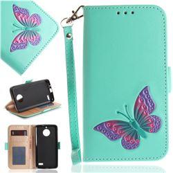 Imprint Embossing Butterfly Leather Wallet Case for Motorola Moto E4(Europe) - Mint Green