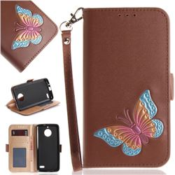 Imprint Embossing Butterfly Leather Wallet Case for Motorola Moto E4(Europe) - Brown