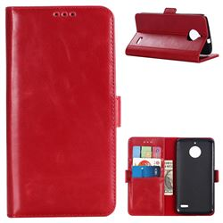 Luxury Crazy Horse PU Leather Wallet Case for Motorola Moto E4(Europe) - Red