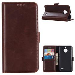 Luxury Crazy Horse PU Leather Wallet Case for Motorola Moto E4(Europe) - Coffee