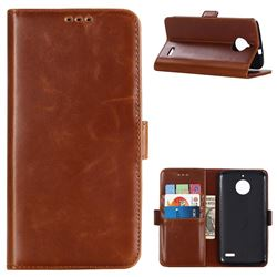 Luxury Crazy Horse PU Leather Wallet Case for Motorola Moto E4(Europe) - Brown