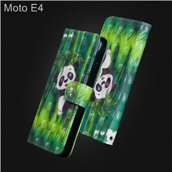 Climbing Bamboo Panda 3D Painted Leather Wallet Case for Motorola Moto E4(Europe)
