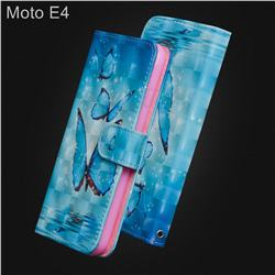 Blue Sea Butterflies 3D Painted Leather Wallet Case for Motorola Moto E4(Europe)