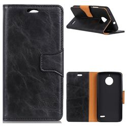 MURREN Luxury Crazy Horse PU Leather Wallet Phone Case for Motorola Moto E4(Europe) - Black