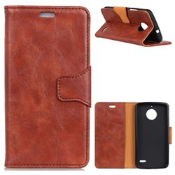 MURREN Luxury Crazy Horse PU Leather Wallet Phone Case for Motorola Moto E4(Europe) - Brown