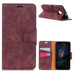 MURREN Luxury Retro Classic PU Leather Wallet Phone Case for Motorola Moto E4(Europe) - Purple