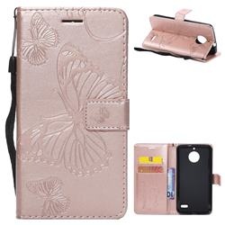 Embossing 3D Butterfly Leather Wallet Case for Motorola Moto E4(Europe) - Rose Gold