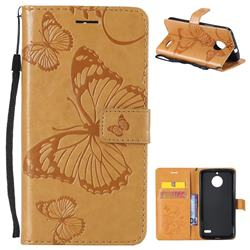 Embossing 3D Butterfly Leather Wallet Case for Motorola Moto E4(Europe) - Yellow
