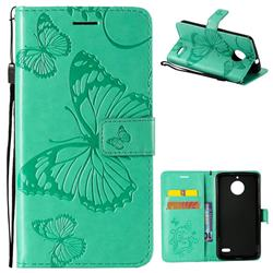 Embossing 3D Butterfly Leather Wallet Case for Motorola Moto E4(Europe) - Green