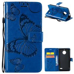 Embossing 3D Butterfly Leather Wallet Case for Motorola Moto E4(Europe) - Blue