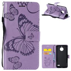 Embossing 3D Butterfly Leather Wallet Case for Motorola Moto E4(Europe) - Purple