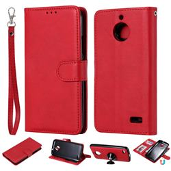 Retro Greek Detachable Magnetic PU Leather Wallet Phone Case for Motorola Moto E4(Europe) - Red