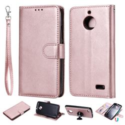 Retro Greek Detachable Magnetic PU Leather Wallet Phone Case for Motorola Moto E4(Europe) - Rose Gold