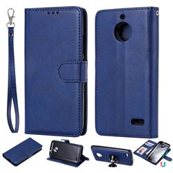 Retro Greek Detachable Magnetic PU Leather Wallet Phone Case for Motorola Moto E4(Europe) - Blue