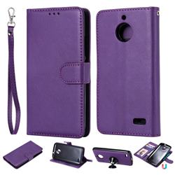 Retro Greek Detachable Magnetic PU Leather Wallet Phone Case for Motorola Moto E4(Europe) - Purple