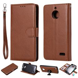 Retro Greek Detachable Magnetic PU Leather Wallet Phone Case for Motorola Moto E4(Europe) - Brown